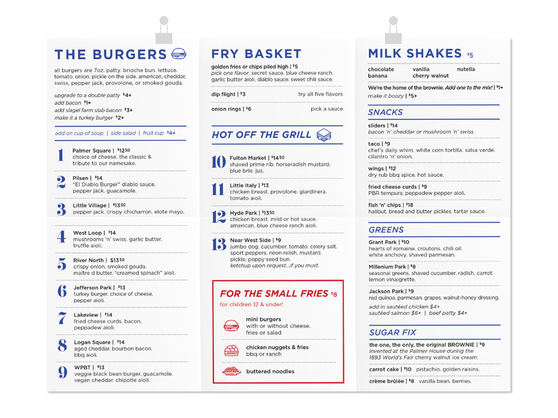 Potter's Burgers To-Go Menu